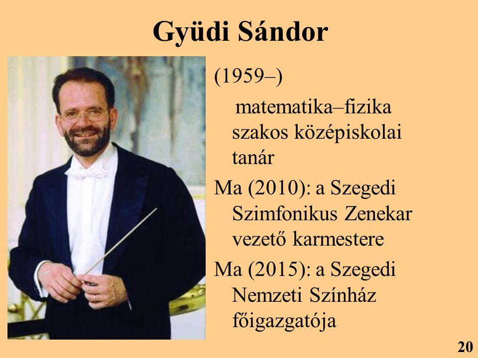 Gyüdi Sándor (1959–) matematika–fizika szakos középiskolai tanár