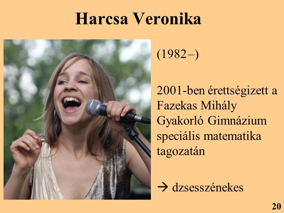 Harcsa Veronika (1982 –) 2001-ben érettségizett a Fazekas Mihály Gyakorló Gimnázium speciális matematika tagozatán.