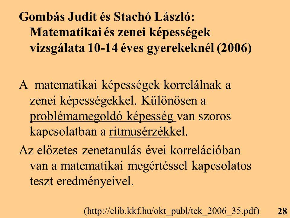 Gombás Judit és Stachó László: Matematikai és zenei képességek vizsgálata 10-14 éves gyerekeknél (2006)