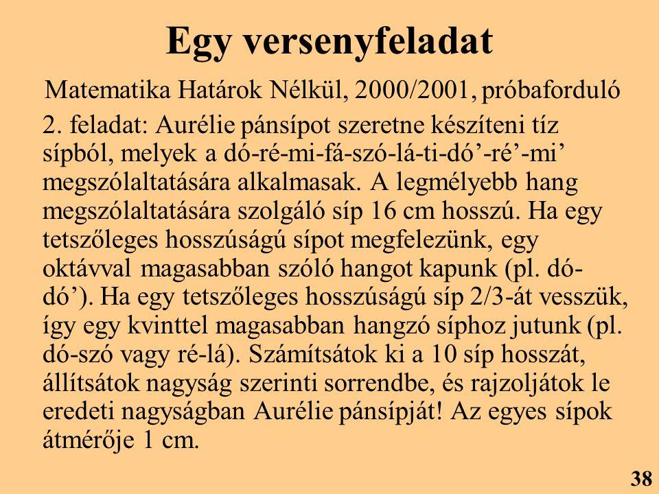 Egy versenyfeladat Matematika Határok Nélkül, 2000/2001, próbaforduló