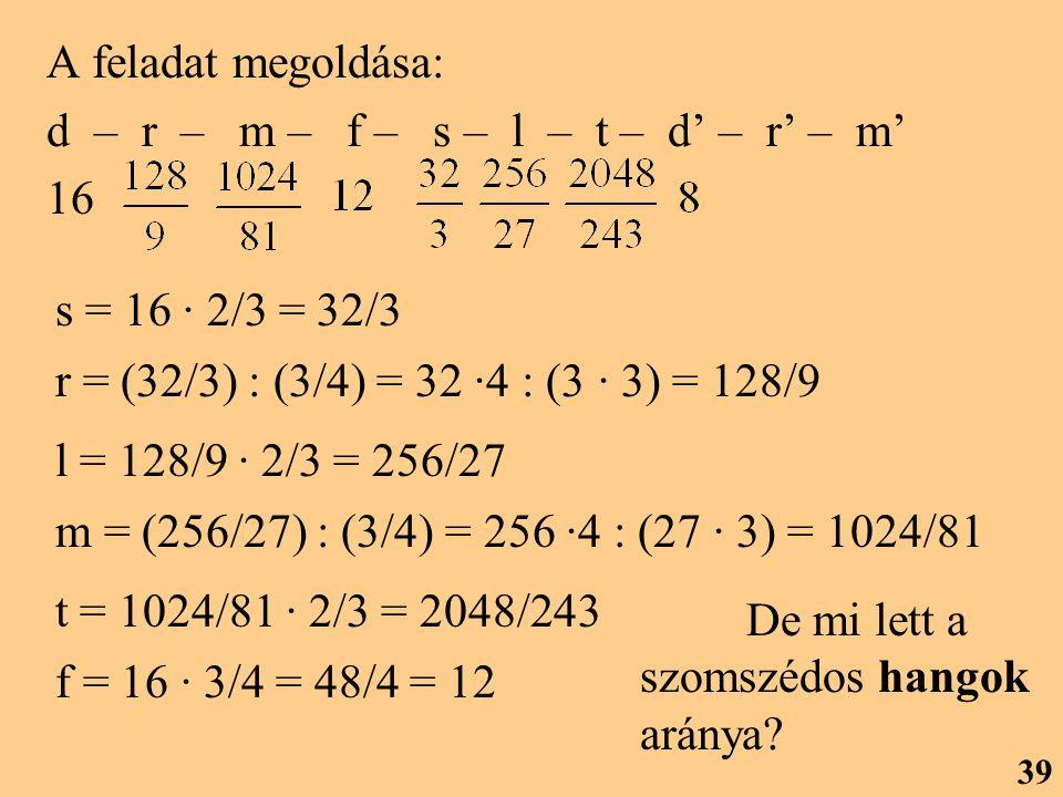 A feladat megoldása: d – r – m – f – s – l – t – d' – r' – m' 16. s = 16 · 2/3 = 32/3.