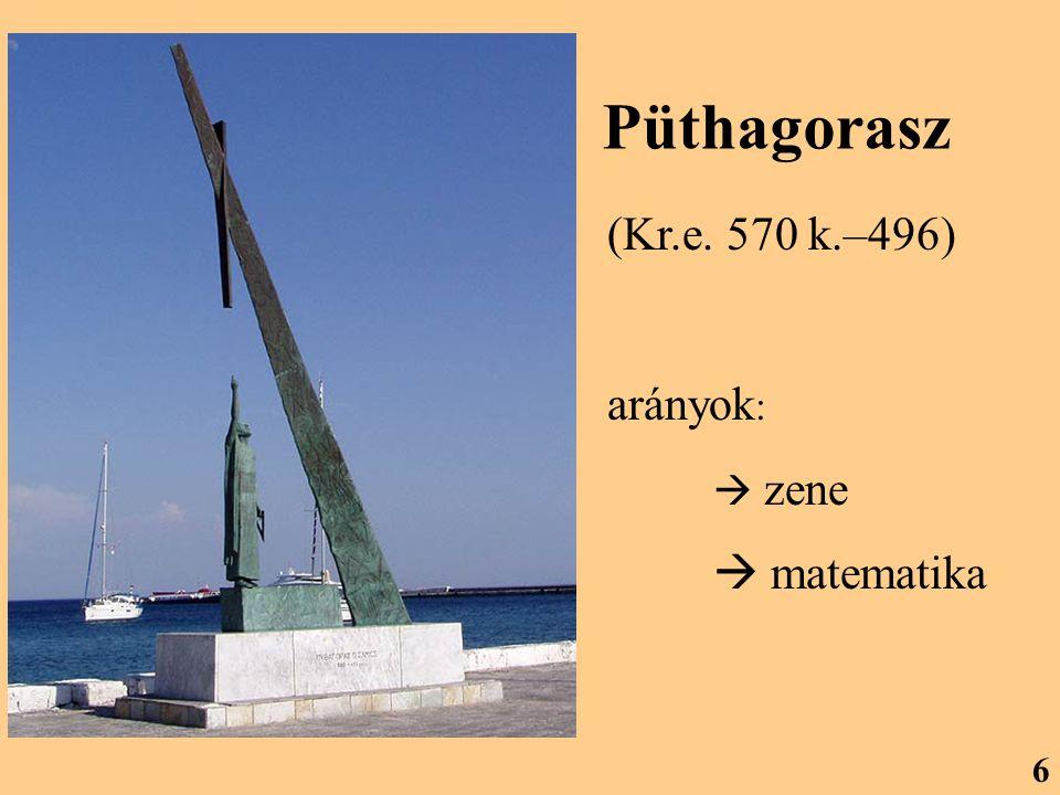 Püthagorasz (Kr.e. 570 k.–496) arányok:  zene  matematika