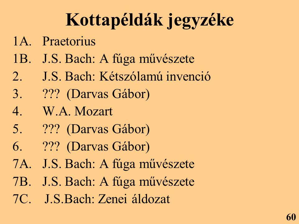 Kottapéldák jegyzéke 1A. Praetorius 1B. J.S. Bach: A fúga művészete