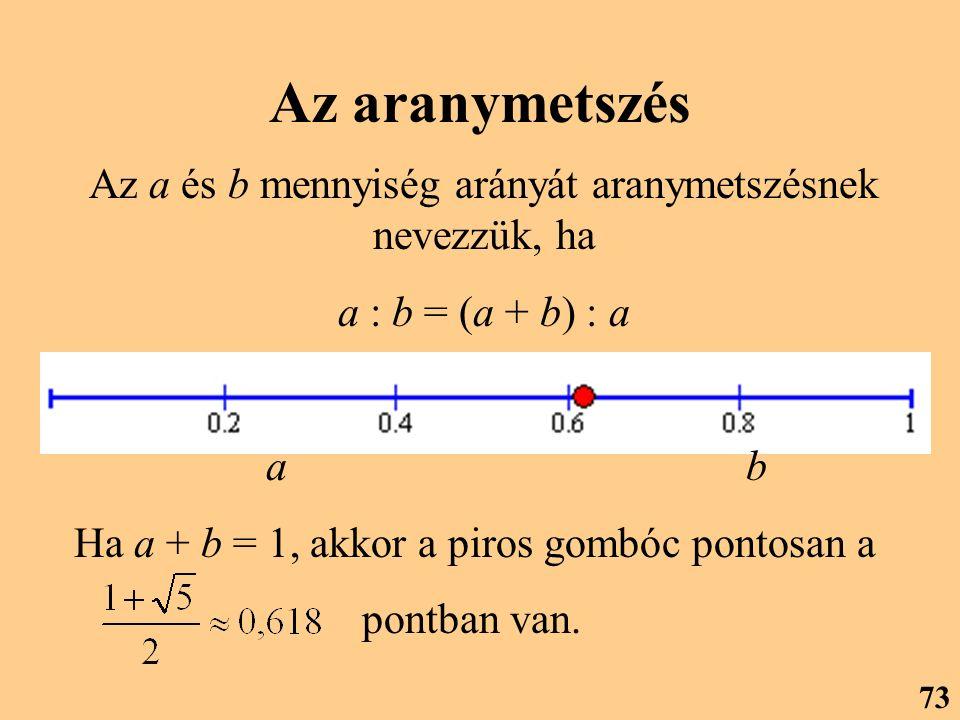 Az a és b mennyiség arányát aranymetszésnek nevezzük, ha