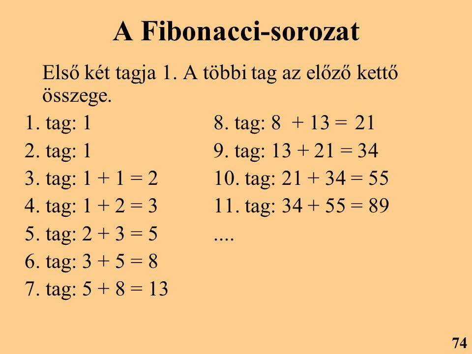 A Fibonacci-sorozat Első két tagja 1. A többi tag az előző kettő összege. 1. tag: 1 8. tag: 8 + 13 = 21.