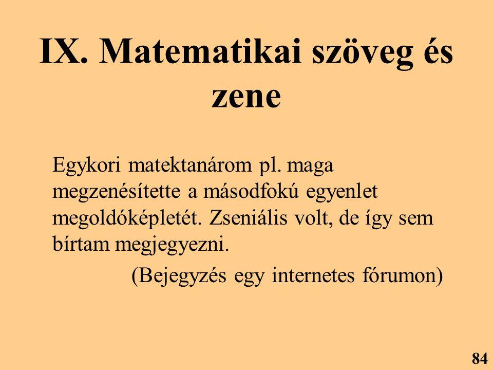 IX. Matematikai szöveg és zene