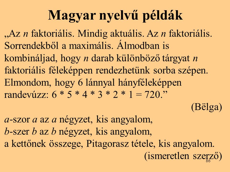 Magyar nyelvű példák