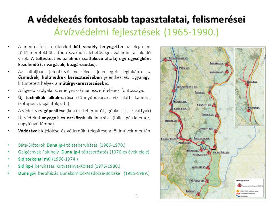 A védekezés fontosabb tapasztalatai, felismerései Árvízvédelmi fejlesztések (1965-1990.)