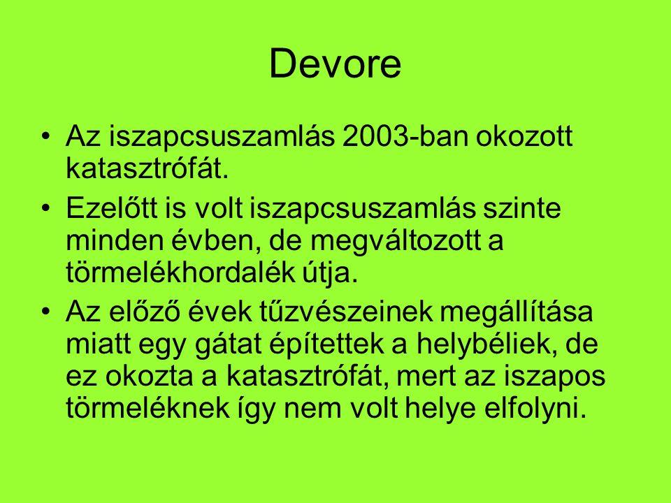Devore Az iszapcsuszamlás 2003-ban okozott katasztrófát.