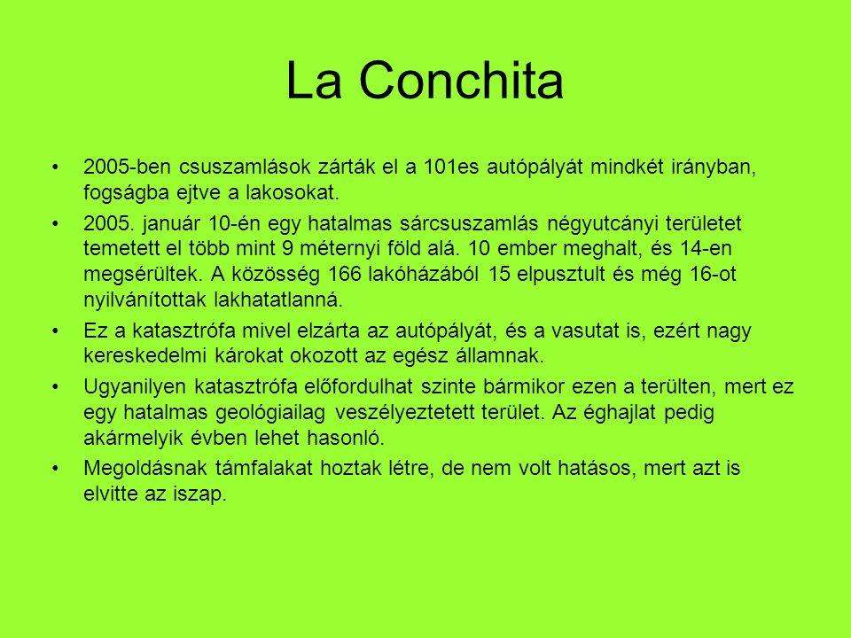 La Conchita 2005-ben csuszamlások zárták el a 101es autópályát mindkét irányban, fogságba ejtve a lakosokat.