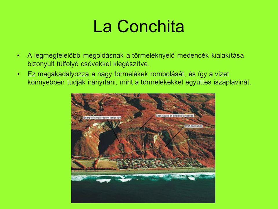 La Conchita A legmegfelelőbb megoldásnak a törmeléknyelő medencék kialakítása bizonyult túlfolyó csövekkel kiegészítve.