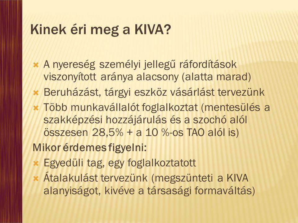 Kinek éri meg a KIVA A nyereség személyi jellegű ráfordítások viszonyított aránya alacsony (alatta marad)