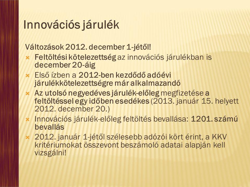 Innovációs járulék Változások 2012. december 1-jétől!
