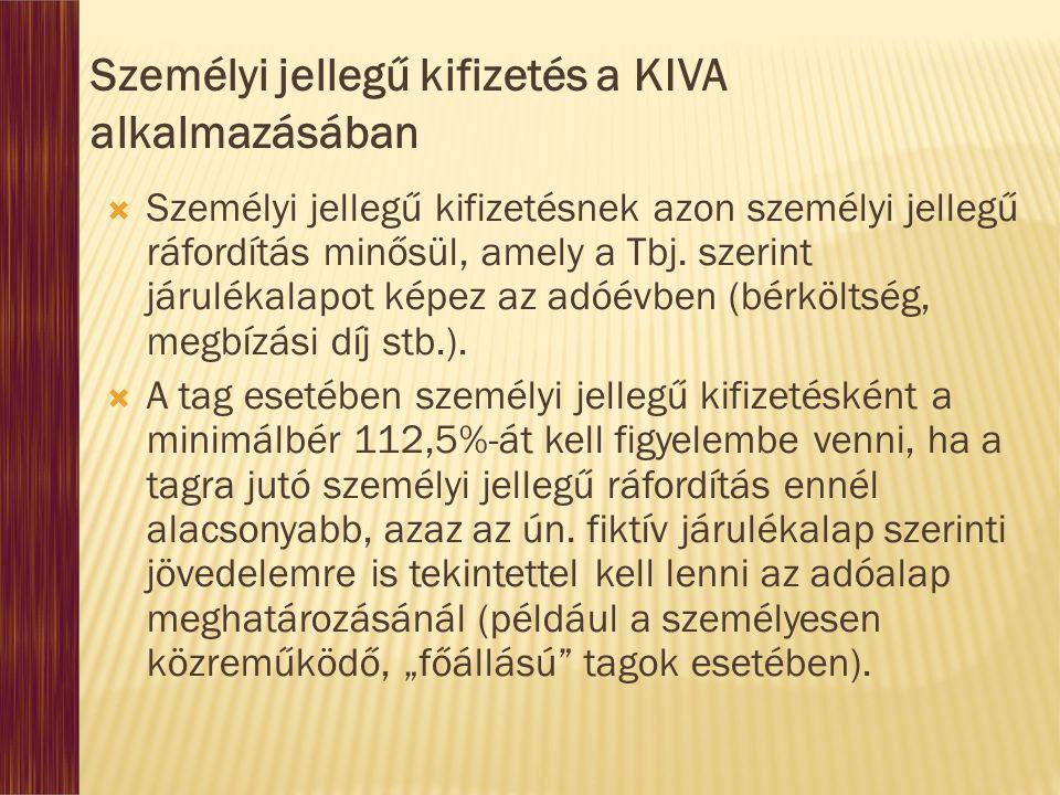 Személyi jellegű kifizetés a KIVA alkalmazásában