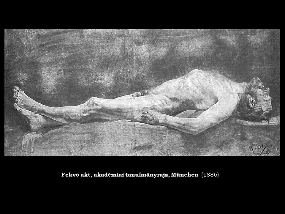 Fekvő akt, akadémiai tanulmányrajz, München (1886)