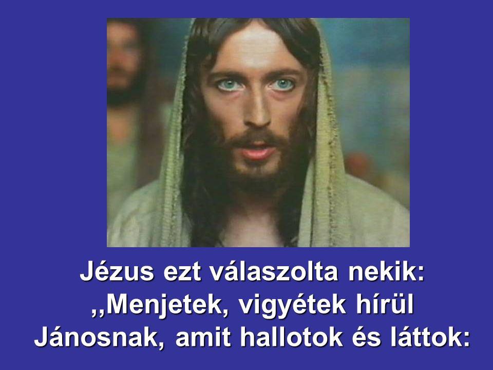 Jézus ezt válaszolta nekik: ,,Menjetek, vigyétek hírül Jánosnak, amit hallotok és láttok: