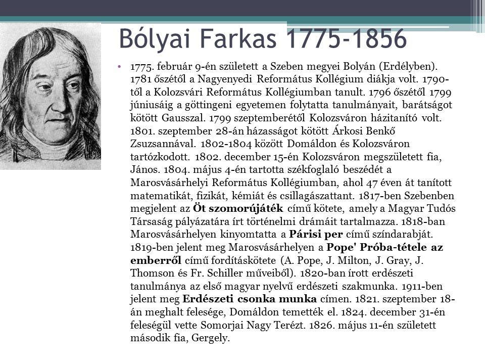 Bólyai Farkas 1775-1856