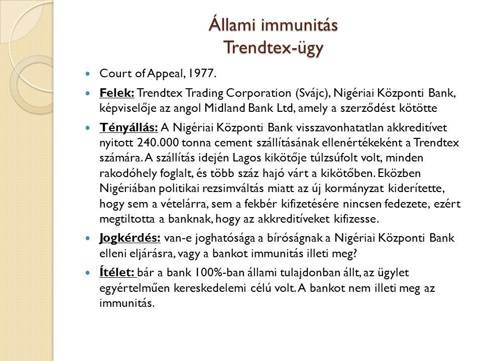 Állami immunitás Trendtex-ügy