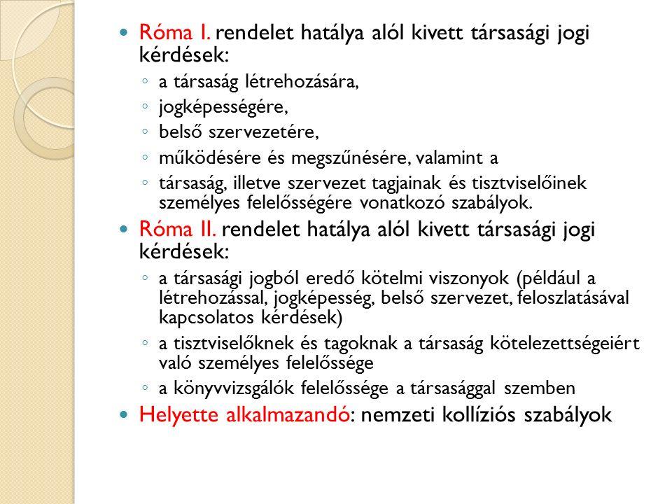 Róma I. rendelet hatálya alól kivett társasági jogi kérdések: