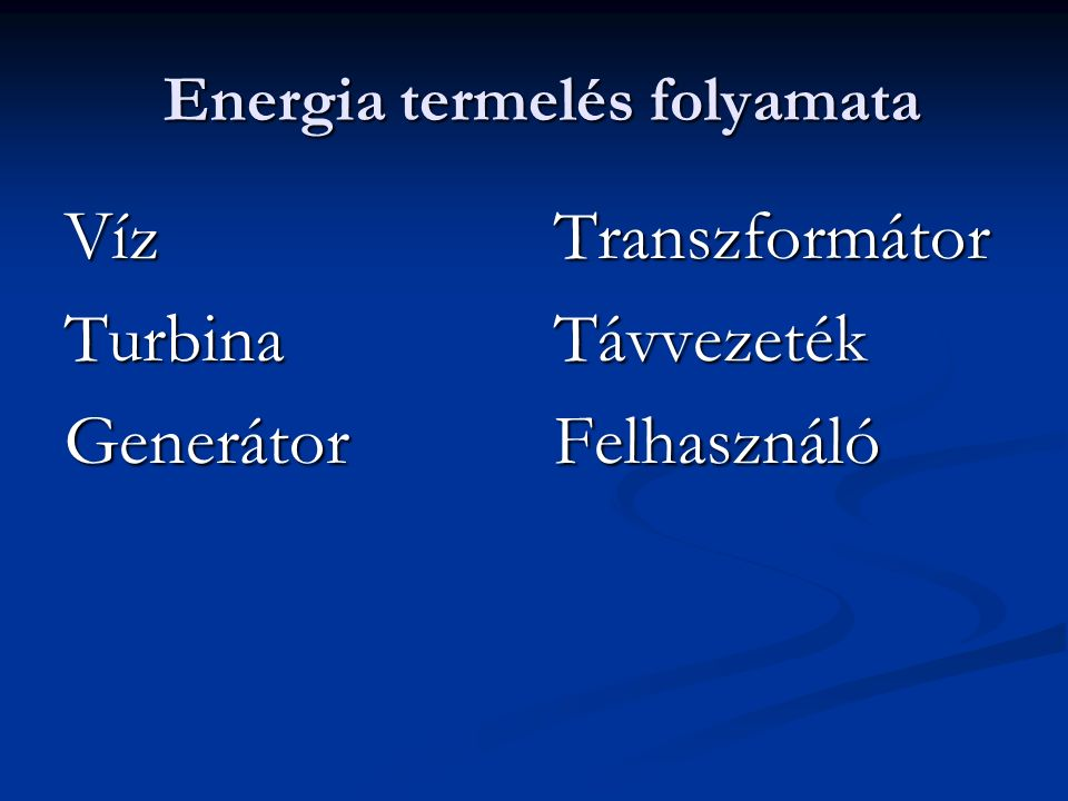 Energia termelés folyamata