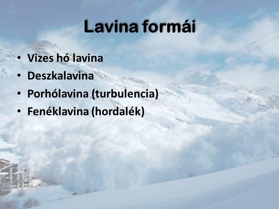 Lavina formái Vizes hó lavina Deszkalavina Porhólavina (turbulencia)
