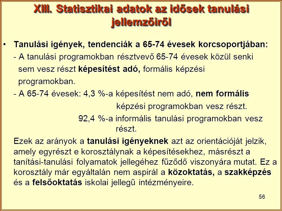 XIII. Statisztikai adatok az idősek tanulási jellemzőiről