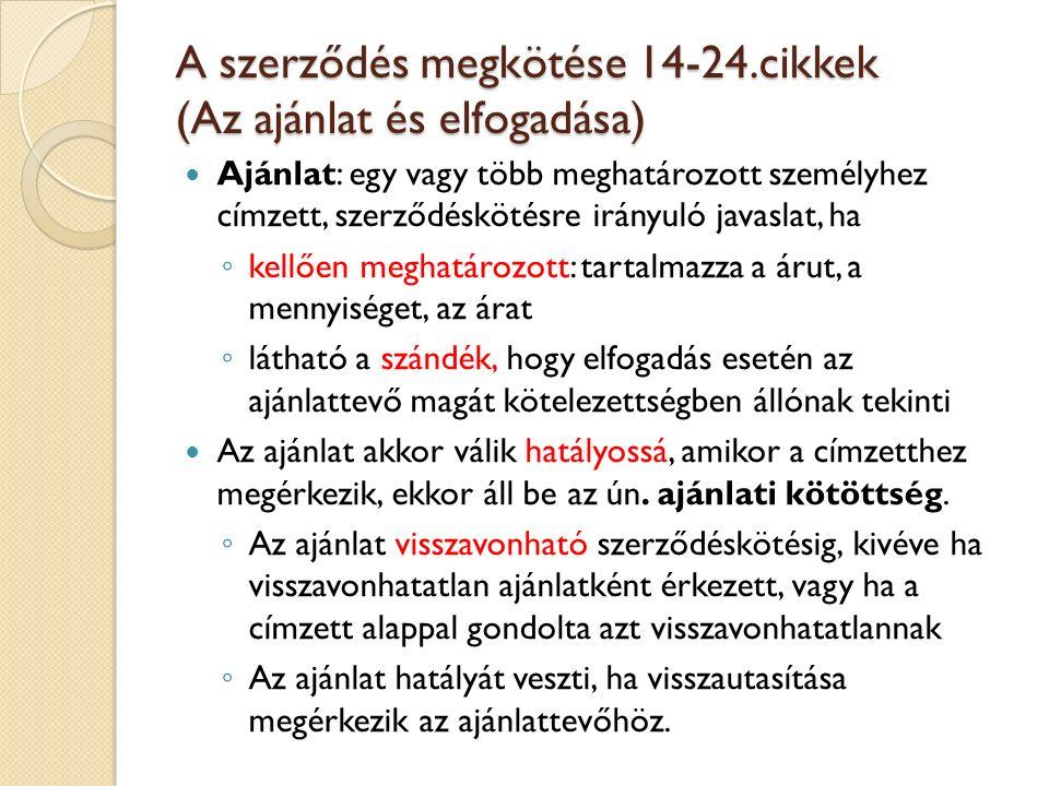 A szerződés megkötése 14-24.cikkek (Az ajánlat és elfogadása)