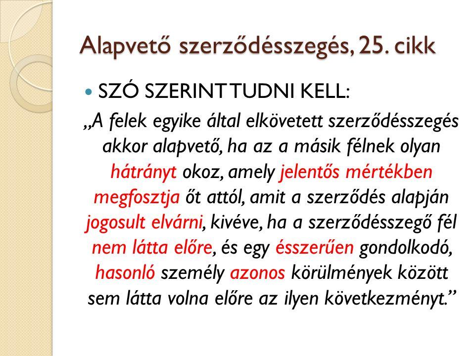 Alapvető szerződésszegés, 25. cikk