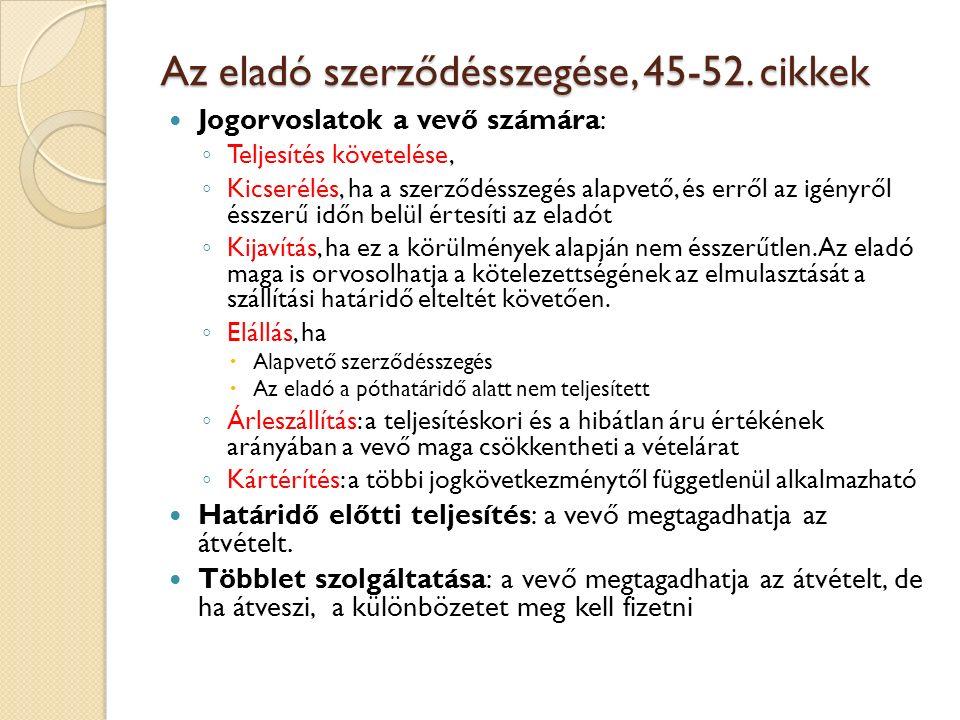 Az eladó szerződésszegése, 45-52. cikkek