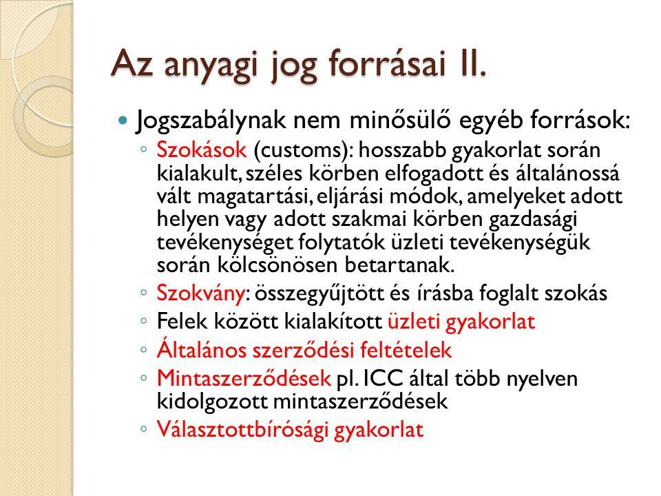 Az anyagi jog forrásai II.