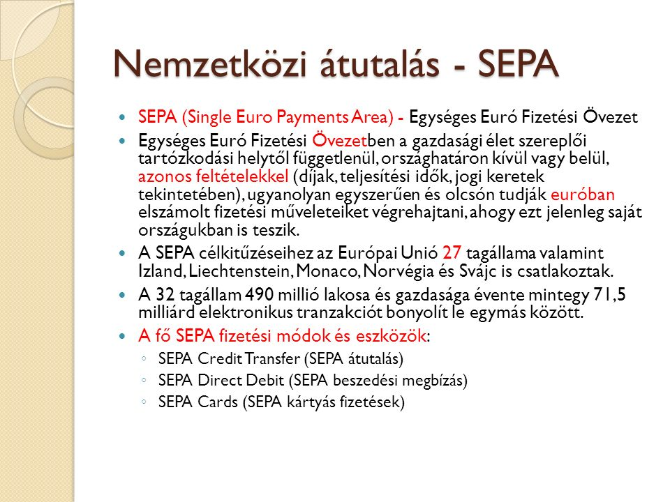 Nemzetközi átutalás - SEPA