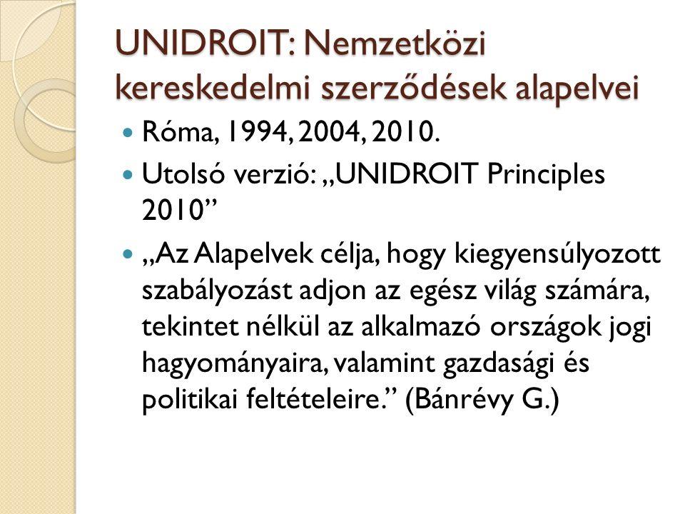 UNIDROIT: Nemzetközi kereskedelmi szerződések alapelvei