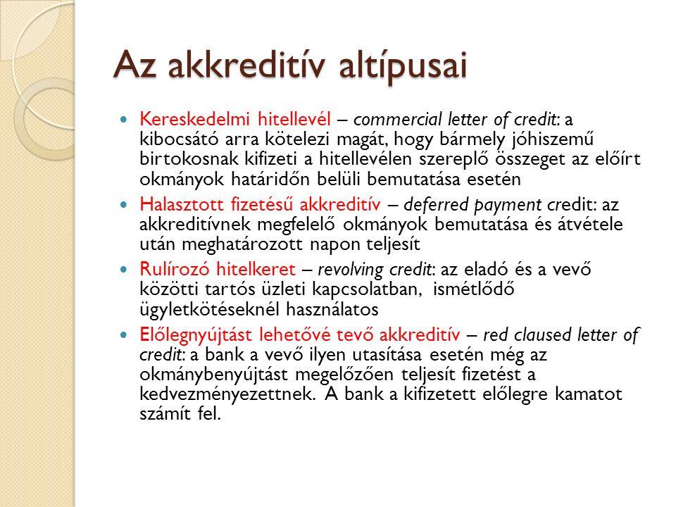 Az akkreditív altípusai