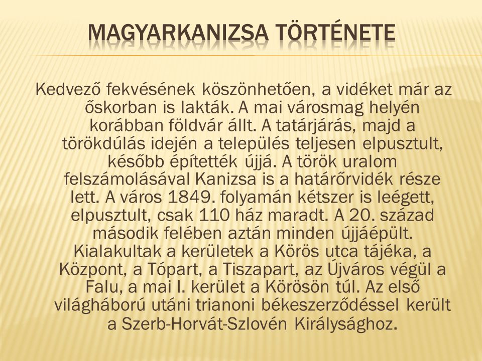 Magyarkanizsa története