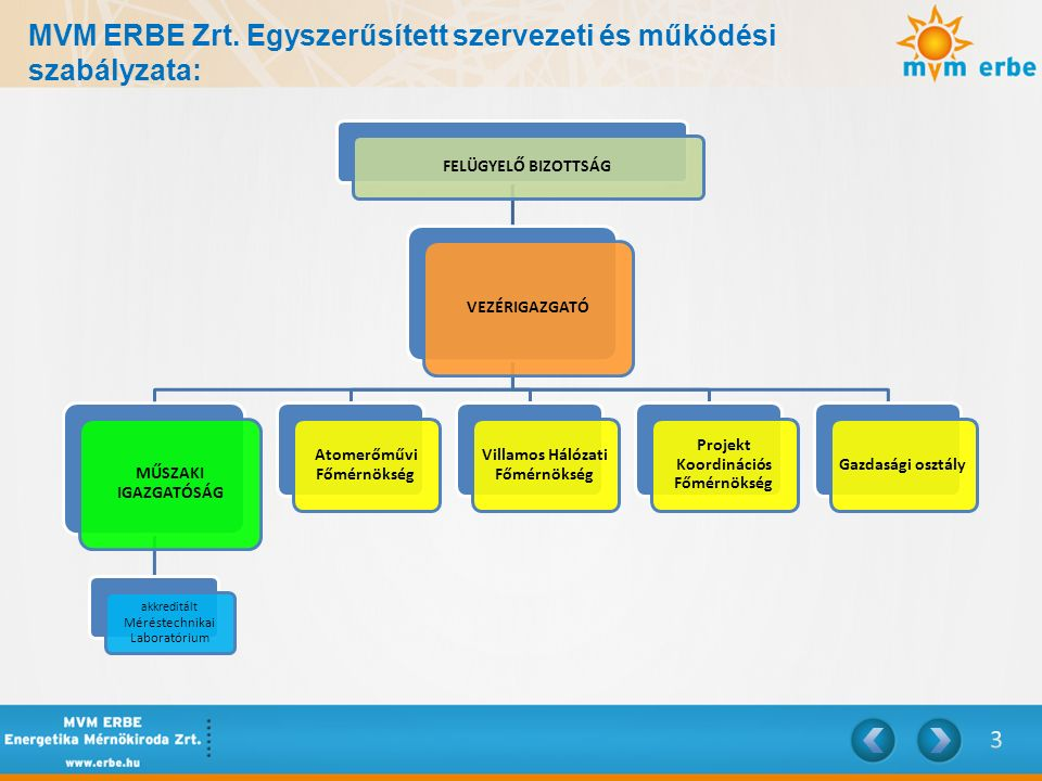 MVM ERBE Zrt. Egyszerűsített szervezeti és működési szabályzata: