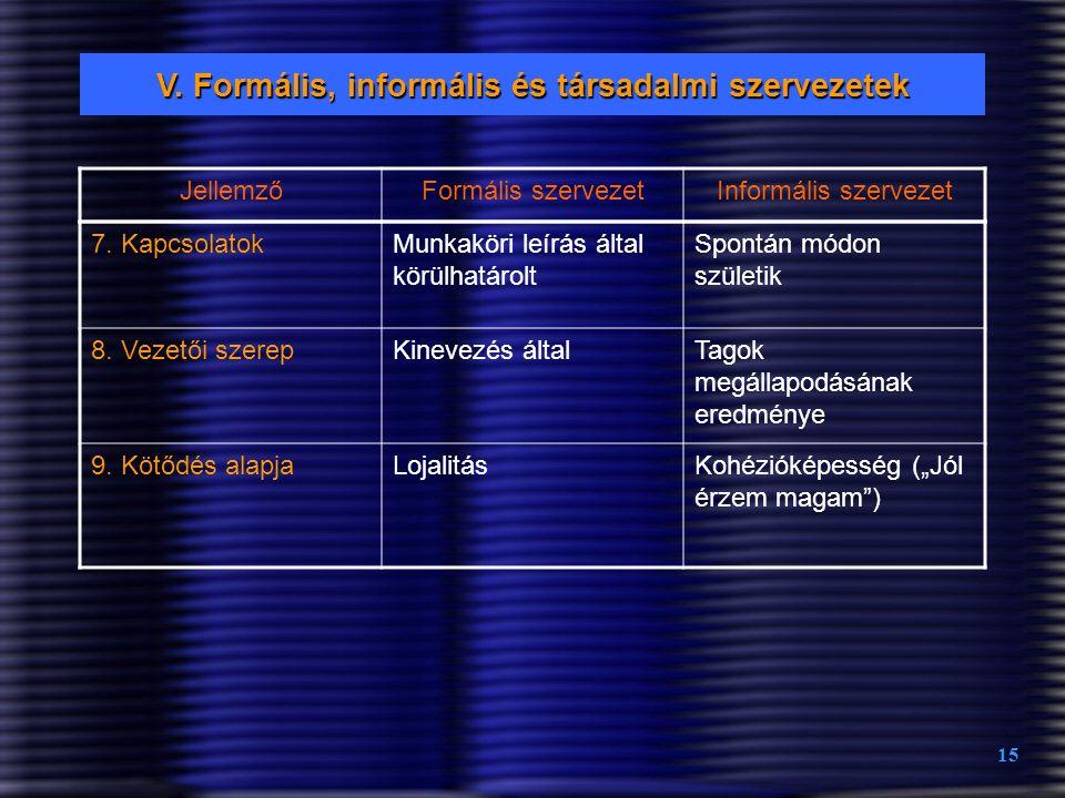 V. Formális, informális és társadalmi szervezetek