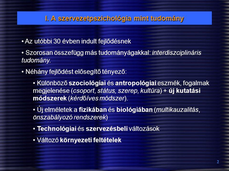 I. A szervezetpszichológia mint tudomány