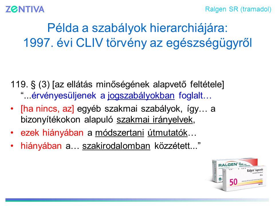 Ralgen SR (tramadol) Példa a szabályok hierarchiájára: 1997. évi CLIV törvény az egészségügyről.