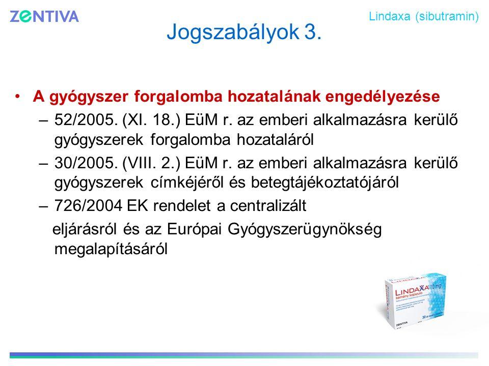 Jogszabályok 3. A gyógyszer forgalomba hozatalának engedélyezése
