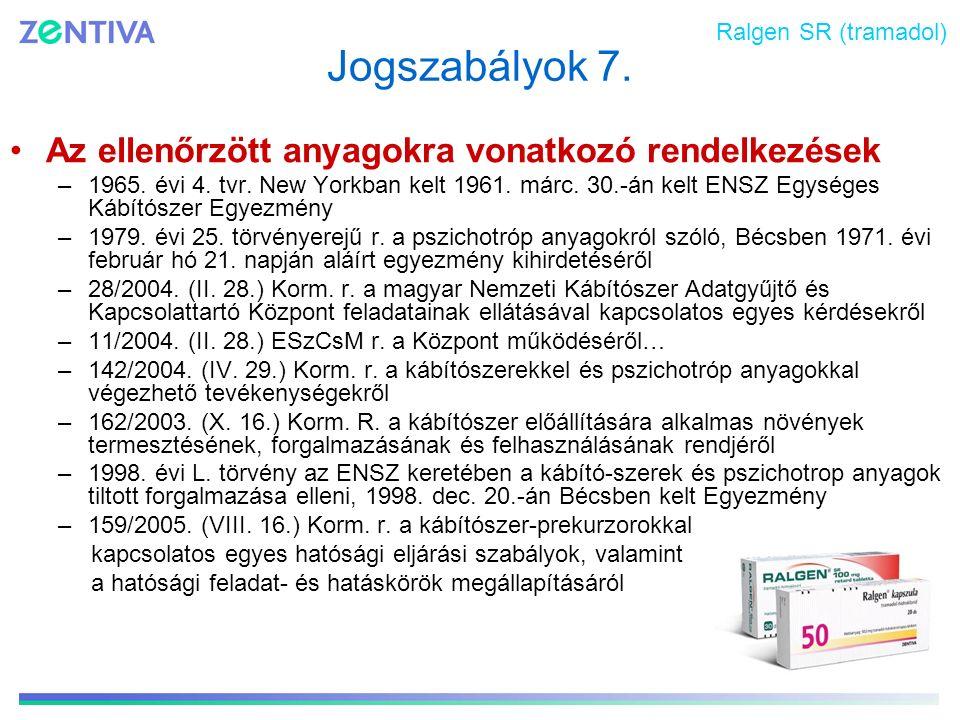 Jogszabályok 7. Az ellenőrzött anyagokra vonatkozó rendelkezések