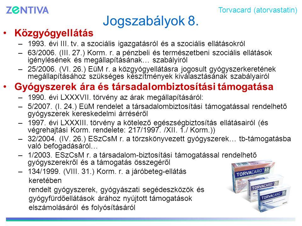 Jogszabályok 8. Közgyógyellátás