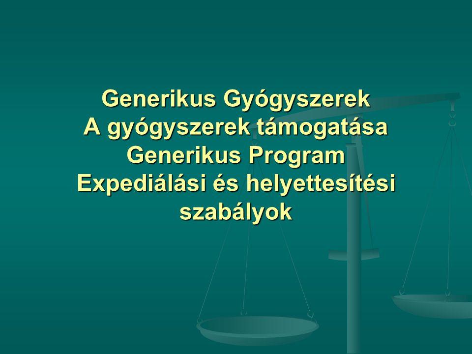 Generikus Gyógyszerek A gyógyszerek támogatása Generikus Program Expediálási és helyettesítési szabályok