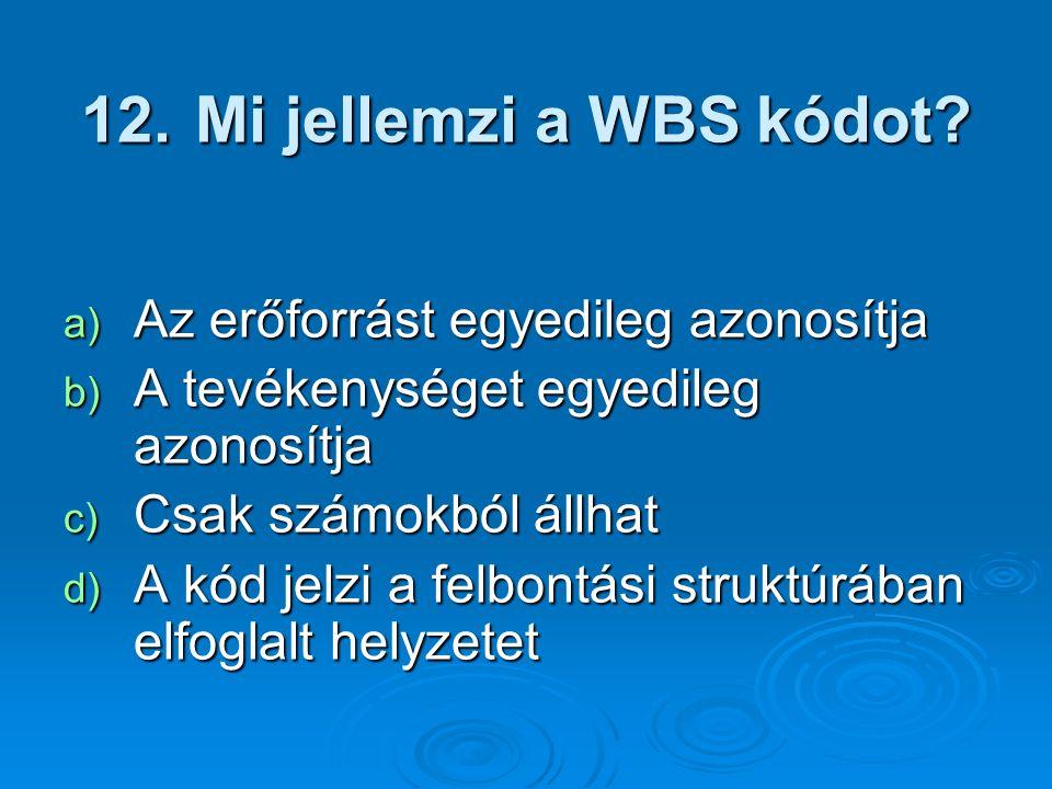 Mi jellemzi a WBS kódot Az erőforrást egyedileg azonosítja