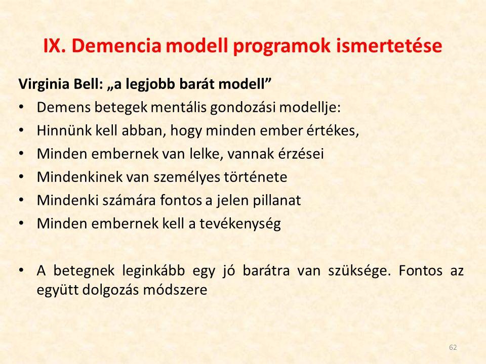 IX. Demencia modell programok ismertetése