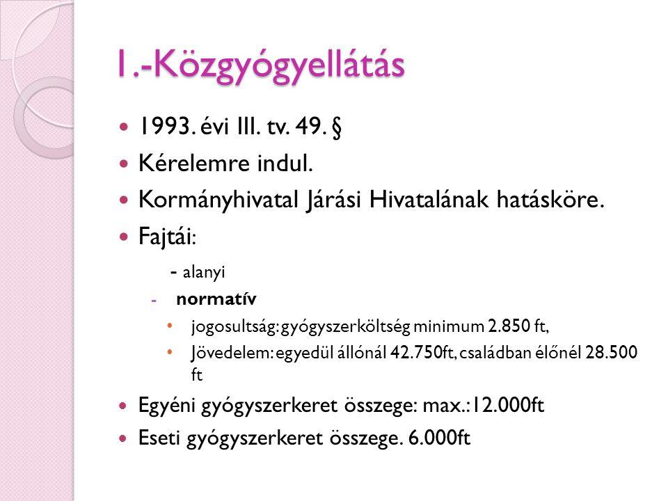 1.-Közgyógyellátás 1993. évi III. tv. 49. § Kérelemre indul.