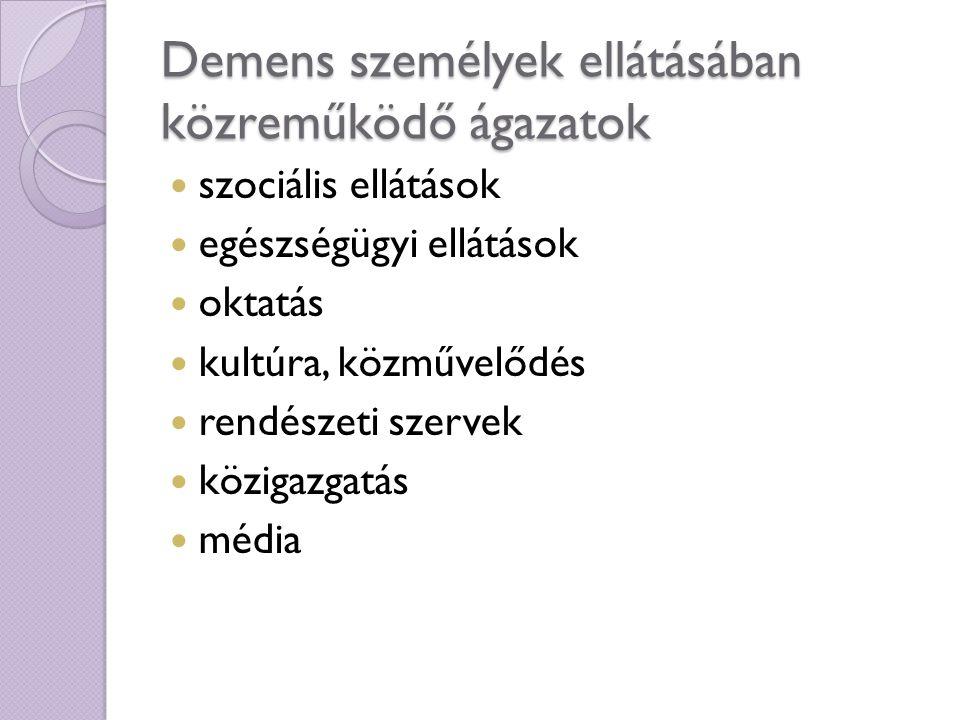 Demens személyek ellátásában közreműködő ágazatok