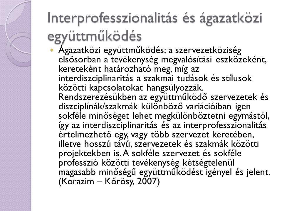 Interprofesszionalitás és ágazatközi együttműködés