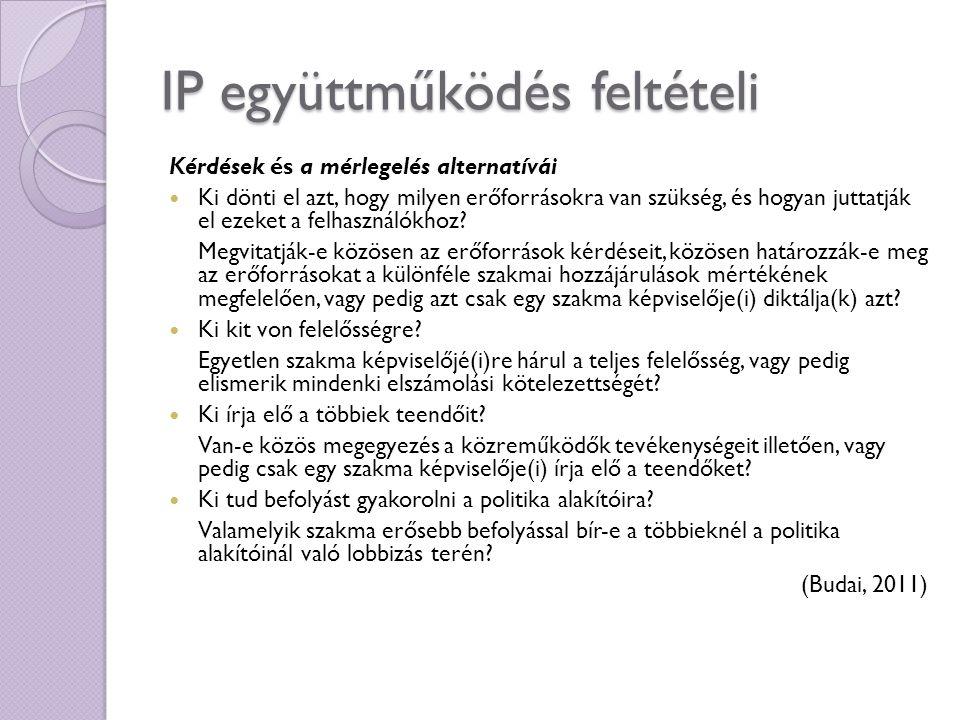 IP együttműködés feltételi