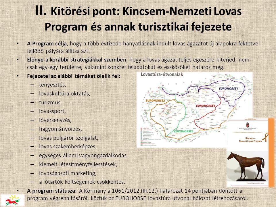 II. Kitörési pont: Kincsem-Nemzeti Lovas Program és annak turisztikai fejezete