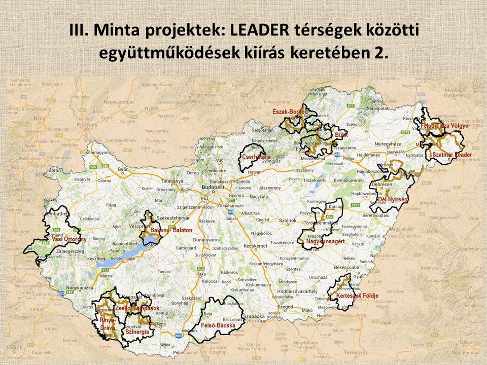 III. Minta projektek: LEADER térségek közötti együttműködések kiírás keretében 2.